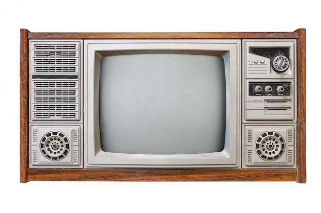 Televisão de caixa de madeira antiga isolada no branco com traçado de recorte para objeto