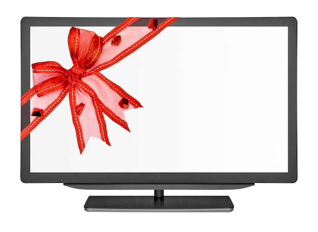 Televisão plana nas superfícies brancas