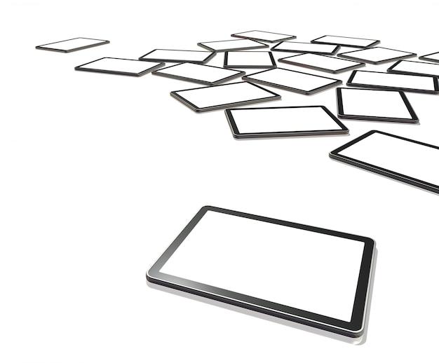 Televisores 3d, digital tablet pc isolado no branco com traçado de recorte de telas