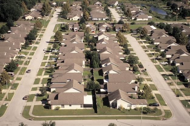 Telhado, casas, elevado, vista
