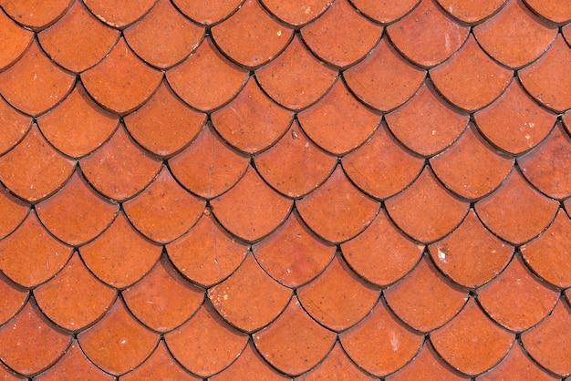 Telhado de telha do uso tailandês velho do fundo da superfície da textura da textura do templo para o fundo