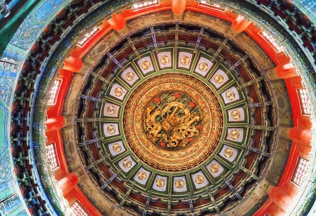 Telhados entalhados por dragões na cidade proibida, pequim, china Foto Premium