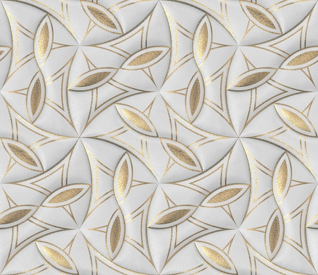 Telhas de couro branco com papel de parede 3d clássico com decoração dourada