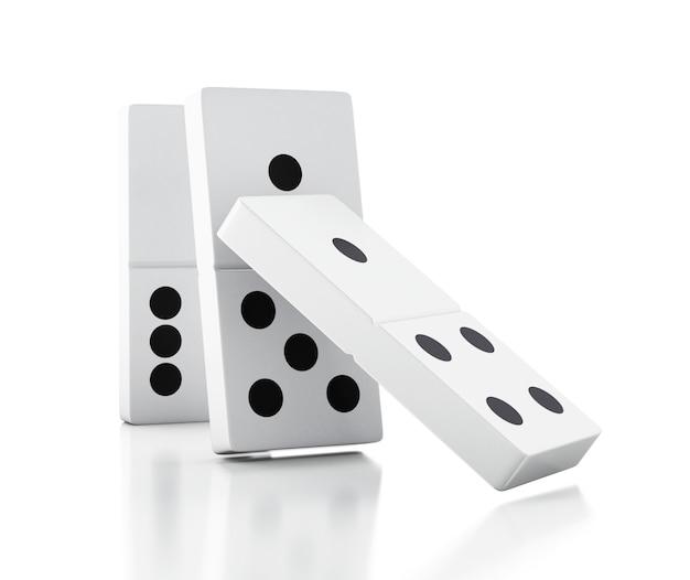 Telhas de dominó 3d caindo em uma fileira