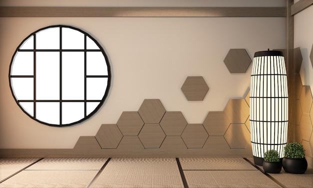 Telhas de madeira do hexágono na parede e lâmpada no assoalho da esteira de tatami, estilo japonês de quarto vazio, renderização em 3d