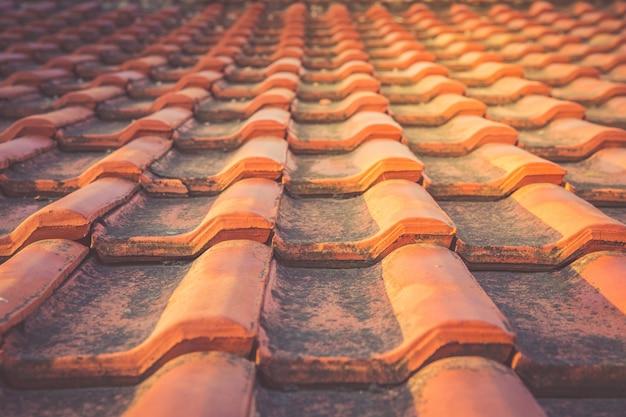 Telhas de telhado mofado do vintage vermelho nos raios do sol de aumentação.