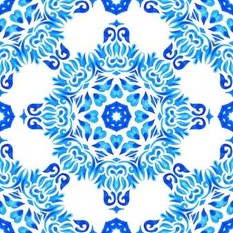 Telhas orientais do padrão aquarela azul sem costura lindo. ornamento turco. mosaico marroquino. porcelana espanhola cerâmica, estampa folk.