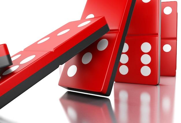 Telhas vermelhas do dominó 3d que caem em uma fileira