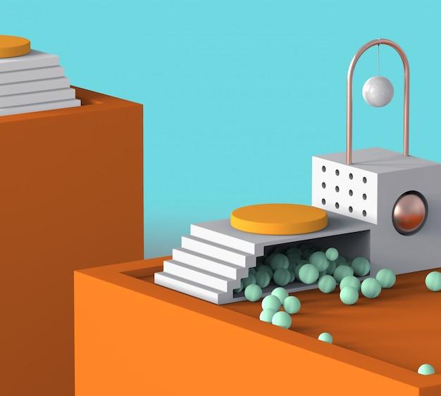 Tema de férias de verão colorido laranja exibição podium com design moderno de geometria abstrata