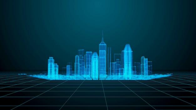 Tema de tecnologia e comunicação. wireframe de cidade moderna render