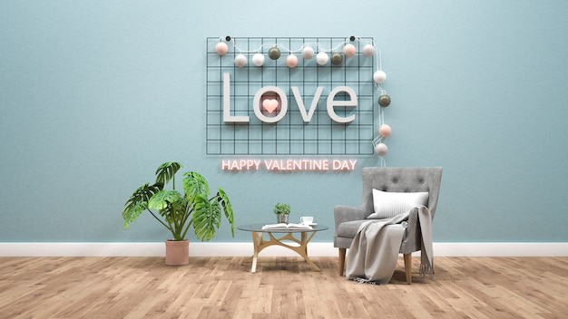 Tema do dia dos namorados com texto claro na parede. renderização em 3d