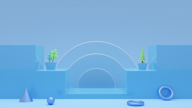 Tema do pódio de renderização 3d para o produto ramadã. foto premium