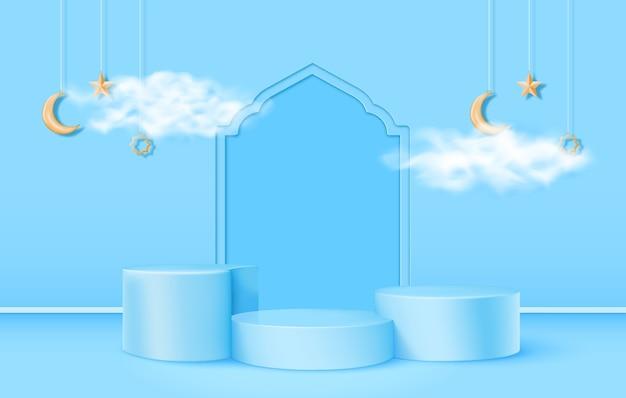 Tema islâmico de pódio 3d