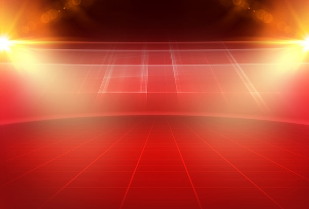 Tema vermelho abstrato vazio espaço de estúdio 3d com reflexo de lente e grade retangular no chão