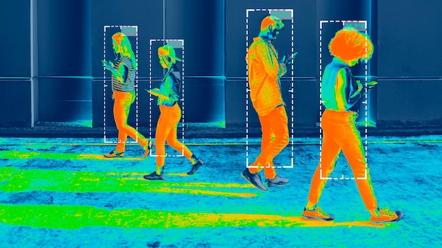 Temperatura corporal durante a imagem térmica da pandemia de coronavírus
