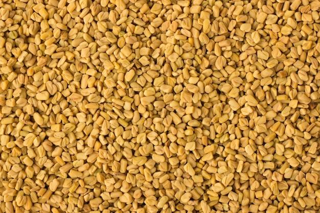 Tempero de sementes de feno-grego como pano de fundo, textura de tempero natural