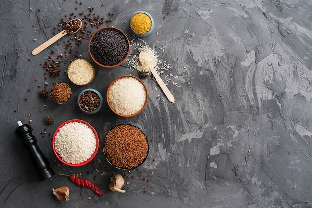 Tempero seco com variedade de tigelas de arroz; alho e peppermill no plano de fundo texturizado concreto