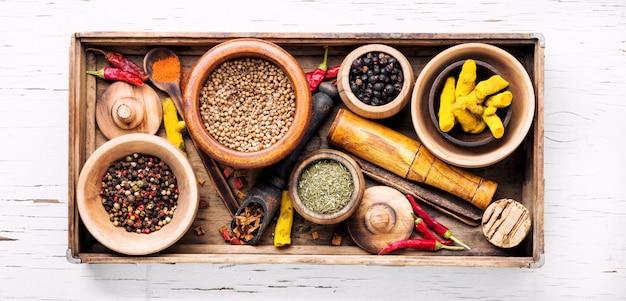 Temperos ingredientes para cozinhar