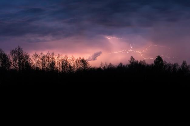 Tempestade de trovões de verão assustador sobre a floresta à noite.