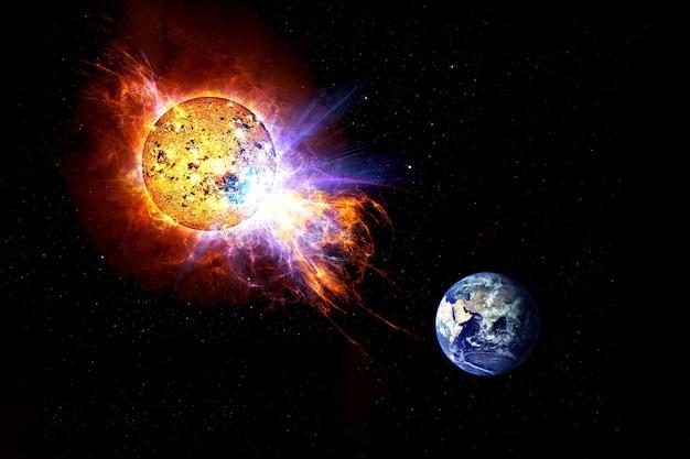 Tempestades solares tendem a pousar em um fundo escuro os elementos desta imagem foram fornecidos pela nasa