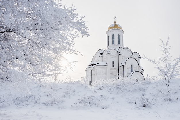 Templo branco ortodoxo bonito entre árvores nevadas