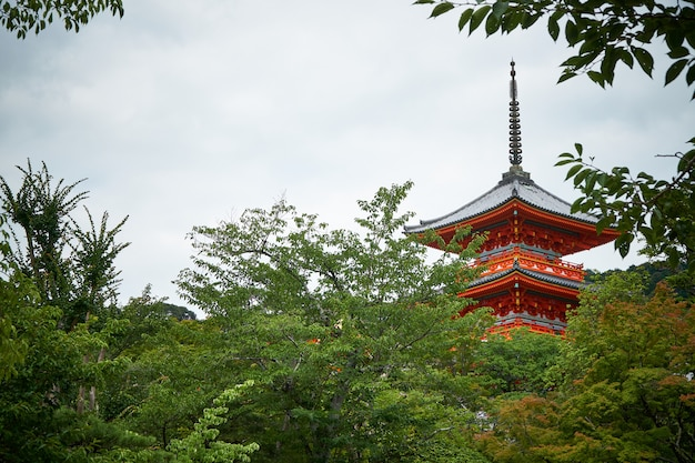 Templo de kiyomizu com algumas árvores no japão