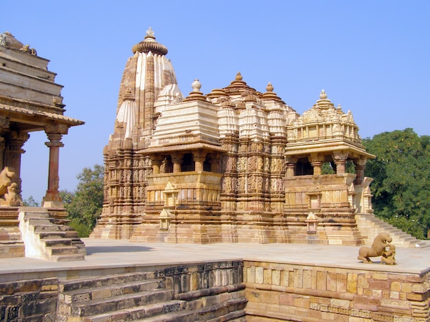 Templo erótico antigo em khajuraho, madhya pradesh