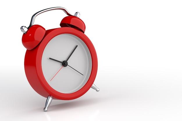 Tempo de despertar do despertador vermelho isolado no fundo branco. renderização 3d