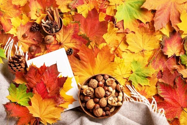 Tempo de leitura. postura plana de outono. livro branco, tigela de madeira de nozes, xícara de café, cone, canela