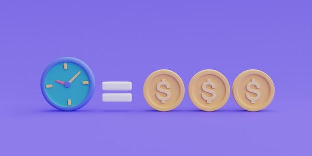 Tempo é o conceito de dinheiro, valor do dinheiro no tempo, economiza tempo, economia de dinheiro. renderização de management.3d de tempo.