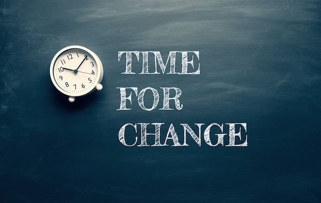 Tempo para conceitos de mudança e motivação com texto e relógio no quadro negro escuro. mente para o sucesso