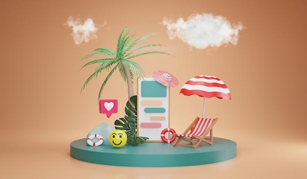 Temporada de verão e entrega online. elementos de praia com smartphone. conceito de férias, renderização em 3d