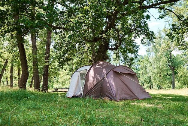 Tenda campimg numa floresta de pinheiros num dia de verão. acampamento turístico