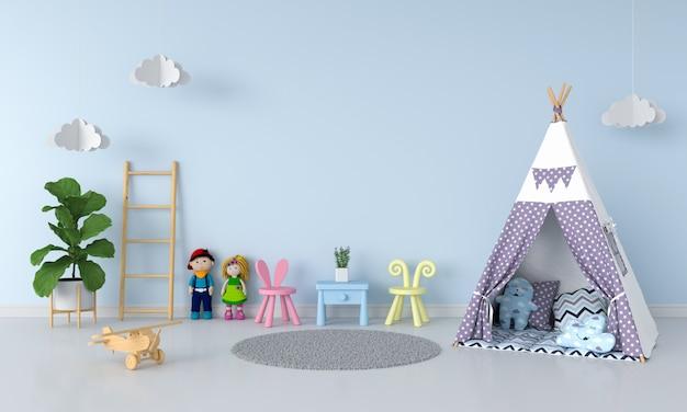 Tenda no interior do quarto de criança para maquete
