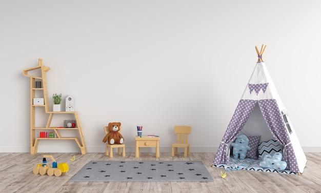 Tenda no interior do quarto de crianças