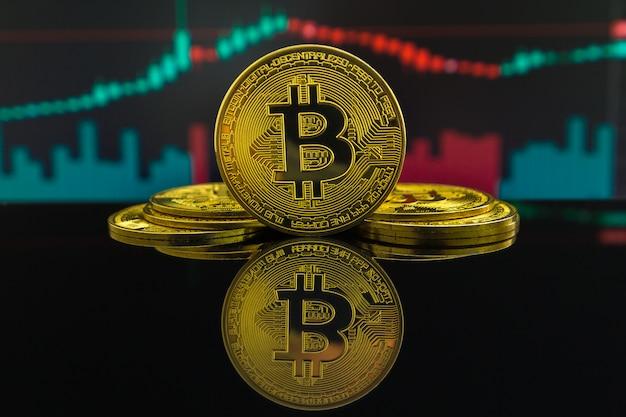 Tendência de alta e tendência de baixa da criptomoeda bitcoin mostrada por velas verdes e vermelhas. moeda do btc na frente do gráfico de negociação