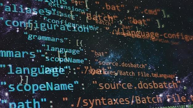 Tendência de big data e internet das coisas. tela do computador com código python. conceito de design de aplicativo móvel.