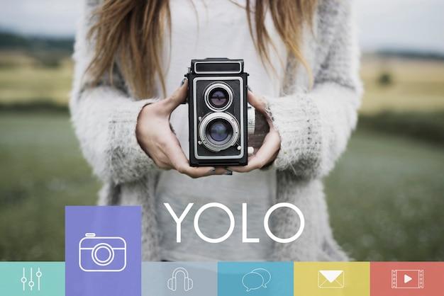 Tendência de liberdade de estilo de vida de câmera de tendência