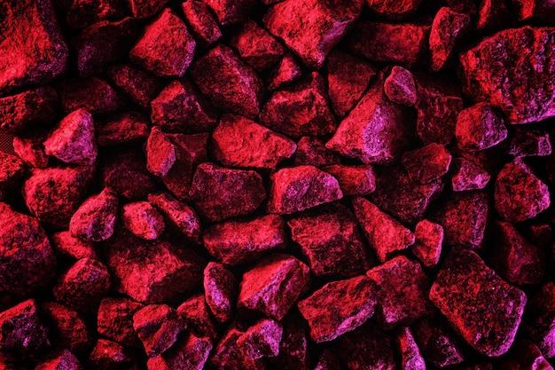 Tendências de fundo vermelho néon mínimo com pedras