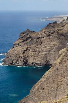 Tenerife, paisagem vulcânica, e, farol, em, a, fundo, tenerife, ilhas canário, sp