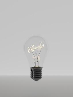 Tenho uma ideia e quero protegê-la. patenteando uma ideia. eureka, tenho uma ideia. símbolo de lâmpada relacionado a uma ideia. a lâmpada acendeu. fundo branco.
