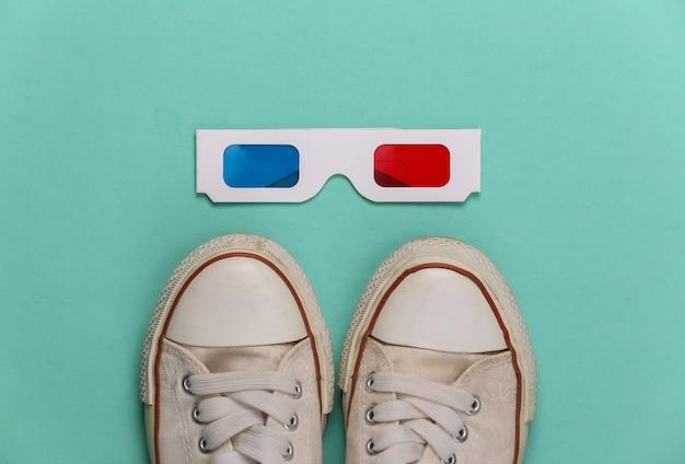 Tênis da velha escola e óculos 3d anáglifos em verde menta