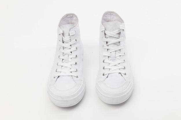 Tênis de cano alto branco calçado unissex da moda