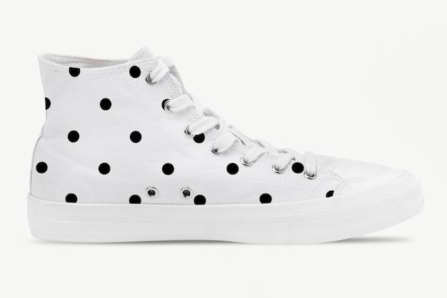 Tênis de cano alto branco com bolinhas unissex calçados da moda