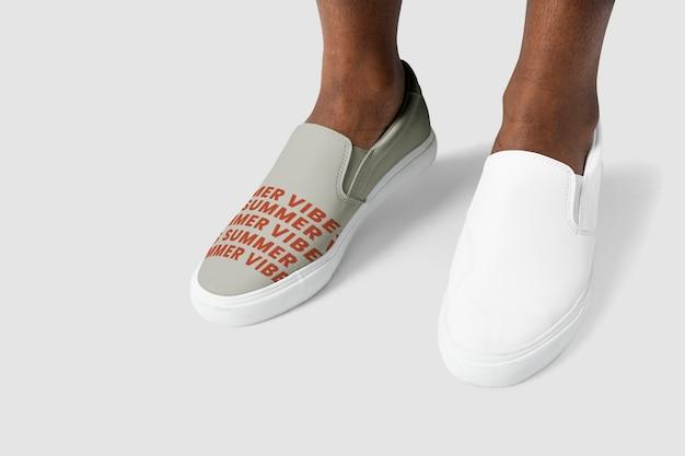 Tênis de couro slip-on cinza e branco calçado unissex da moda verão