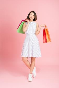 Tênis de suéter amarelo feminino, pacotes coloridos, compras
