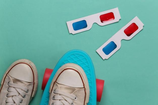 Tênis old school e óculos 3d anáglifos, cruiser board em verde menta