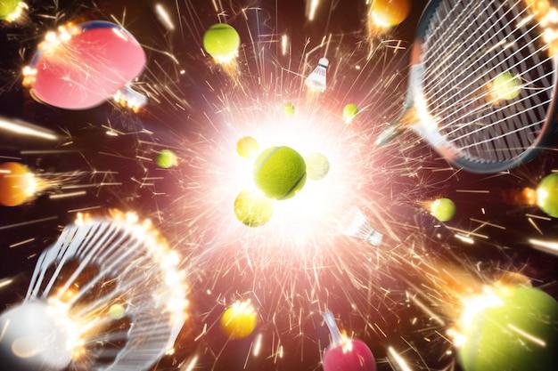 Tênis, pingue-pongue e badminton com faíscas de fogo em ação