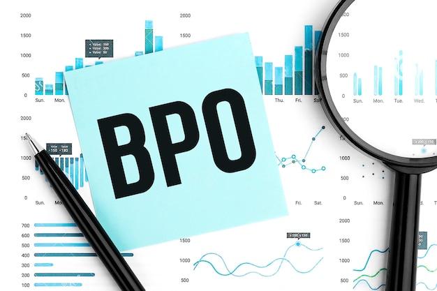 Terceirização de processos de negócios de bpo de texto na etiqueta azul, lupa, caneta, gráficos. plano de negócios deitado.