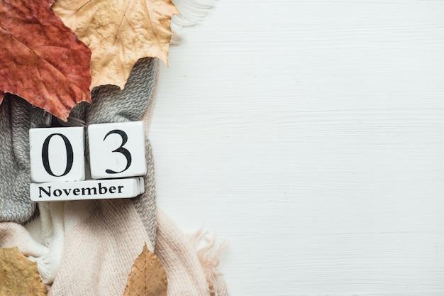Terceiro dia do calendário do mês de outono novembro